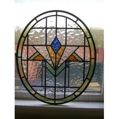 1930s Hand Made Stained Glass Panel - Symmetrical Diamond