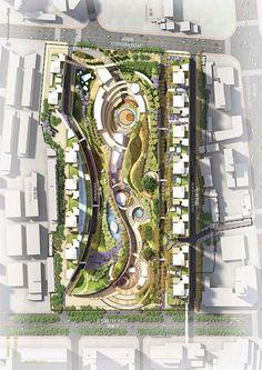 Huainan Stadtpark von The Jerde Partnership - Architektur Landscape Design Plans, Landscape Architecture Design, Urban Architecture, Urban Landscape, Architecture Diagrams, Architecture Portfolio, Architecture Tattoo, Park City, Urban Design Concept