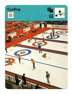 an old sports card featuring curling..