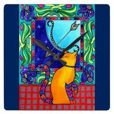 Sagittarius Cat Zodiac Square Wall Clock - home gifts ideas decor special unique custom individual customized individualized