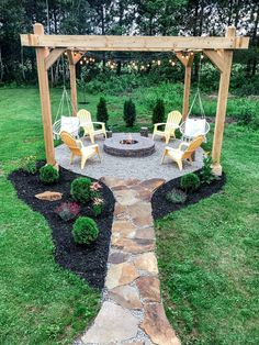 Awesome 40 Astonishing Diy Backyard Fire Pit Design Ideas That You Have To Know Backyard Patio Designs, Backyard Projects, Outdoor Projects, Fire Pit Backyard, Back Yard Fire Pit, Fire Pit Pergola, Backyard Pergola, Fire Pit Swings, Pergola Ideas