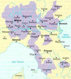 Questa cartina mostra l'espansionismo visconteo ad opera di Gian Galeazzo Visconti, divenuto il signore di Milano nel 1395.