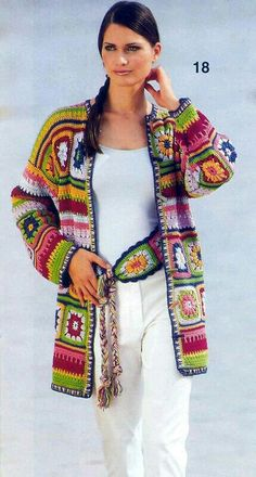 """Crochet Granny Square Jacket C"", ""~ lots of granny square photos;"", ""Brilliant 'granny' jacket::: Love the combination of colors."", ""This desig Cardigan Au Crochet, Gilet Crochet, Crochet Coat, Crochet Jacket, Freeform Crochet, Crochet Shawl, Crochet Clothes, Crochet Stitches, Crochet Sweaters"