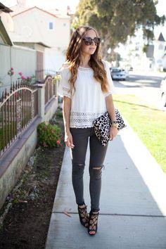 Distressed denim, white top, heels