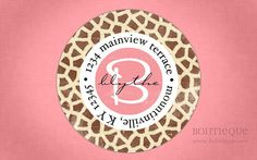 Custom Return Address Labels - Giraffe Print Pink Distressed
