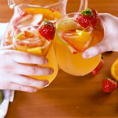 Summer is calling, and so is sangria. This easy white-wine sangria recipe has all of your favorite fruits (and if it doesn't, go ahead and add them!) and, to make things even better, they get soaked in Grand Marnier for a bit before going into the sangria pitcher. If you need us, we'll be by the pool sipping these with a red wine sangria in the other hand. Get the recipe at Delish.com. #delish #easy #recipe #whitewine #sangria #summer #strawberery #apple #peach #cocktail #mango #orange #lime