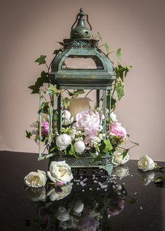 Lantern with  blush pink and white peony, english ivy