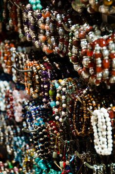 Large collection of bracelets on sales display in the Grand Bazaar of Istanbul, Turkey