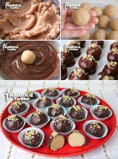 Çikolata Kaplı Un Helvası Tarifi Turkish Sweets, Granola, Breakfast Recipes, Deserts, Muffin, Food And Drink, Birthday Parties, Pudding, Yummy Food