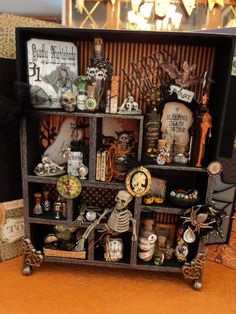 Tim Holtz Halloween configurations box-something fun and cute and not so morbid instead Retro Halloween, Holidays Halloween, Halloween Crafts, Happy Halloween, Halloween Decorations, Altered Boxes, Altered Art, Halloween Shadow Box, Halloween Apothecary