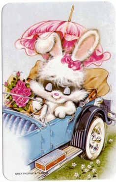 vintage SWAP CARDs Blank back cute little Easter rabbit in vintage car Cute Bunny, Cute Cats, Cute Animal Illustration, Animal Illustrations, Old Greeting Cards, Happy Weekend, Drawing For Kids, Kawaii, Retro