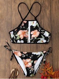 AD : Floral Print Backless Crop Top Bikini Set - COLORMIX Swimwear Type: Bikini Gender: For Women Material: Polyester,Spandex Bra Style: Padded Support Type: Wire Free Collar-line: Halter Pattern Type: Floral Placement Print: No Decoration: Lace up Waist: Bathing Suits For Teens, Summer Bathing Suits, Cute Bathing Suits, Bathing Suit Covers, Crop Top Bikini, Bikini Beach, Halter Bikini, Floral Bikini, Cute Swimsuits