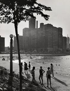 Chicago, Ohio Street Beach with Furniture Mart, 1941. Andreas Feininger. Gelatin silver print