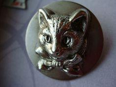 "Silver Plated Brass Cat Vintage Antique Button 1 1 8"" | eBay"