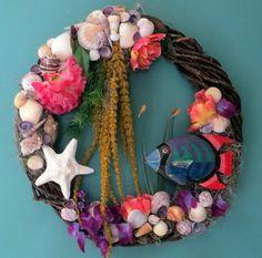 Beach Wreath Wall Art  Bright Tropical by CarmelasCoastalCraft, $75.00
