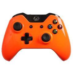Custom-Xbox-One-Controller-with-Glossy-Orange-Shell-Brand-New-XONE-Controller