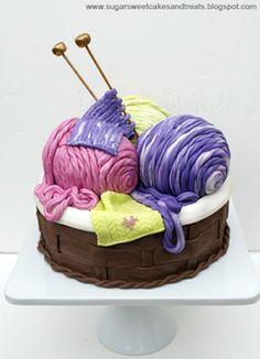 Super cute knitting cake.