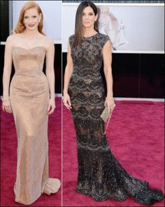 2013 Oscar red carpet dresses. EMBELLISHED Oscar nominee, Jessica Chastain, wears a nude Armani Prive gown and Harry Winston jewelry. Sandra Bullock in a cap-sleeved black and silver Elie Saab gown and Harry Winston jewelry.