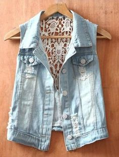 cool... Blue Single Breasted Ripped Sequined Lace Denim Coat - Sheinside.com