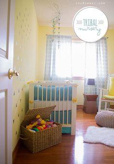 Boy's tribal inspired nursery tour // turquoise, yellow and grey nursery | TheMombot.com