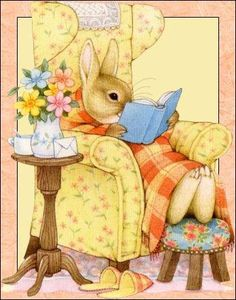 Reading a book can be a wonderful escape from the stress of everyday life. Susan Wheeler, Fete Pascal, Easter Story, Bunny Art, Woodland Creatures, Beatrix Potter, Cute Characters, Illustrations And Posters, Animal Drawings