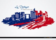 Background of La Defénse district in Paris covered with colors of French flag. Here you have famous landmarks like Grande Arche, Tour Areva, Tour First, Tour Granite, among others. Make awesome touristic promos with this vector. High quality JPG included. Under Commons 4.0. Attribution License.