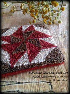 Punch Needle Embroidery Paper Pattern  by Doreen Frost. Civil War Era Red, Brown And Cream Quilt