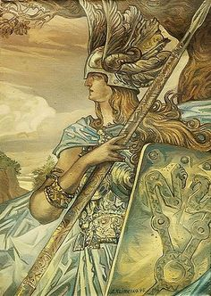 Brynhildr (also spelled Brunhild, Brünnhilde, Brynhild) is a shieldmaiden and a valkyrie in Germanic mythology, where she appears as a main character in the Völsunga saga and some Eddic poems treating the same events.