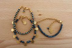 Gold and Blue Crystal Beaded Dainty Bracelet Set by monroejewelry