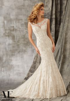 """Bridal Gowns By AF Couture featuring Cordinelli Embroidery with Crystal Beading on Net Over Satin Available in Three Lengths: 55"""", 58"""", 61"""". Colors Available: White/Silver, Ivory/Silver, Light Gold/Silver"""