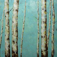 ELENA Birch aspen trees painting Large original landscape palette knife contemporary 30x30. $360.00, via Etsy.