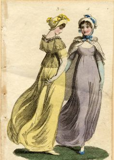 Dresses, 1802 :: Fashion Plate Collection, 19th Century. Lavender dress, jade gloves, blue slippers...