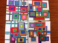 Drip, Drip, Splatter Splash: Concentric Design (practice using rulers to make initial - largest - shapes & background lines) Kandinsky, Art 2nd Grade, Square 1 Art, Mondrian, Classe D'art, Ecole Art, Art Courses, Preschool Art, Kindergarten Art