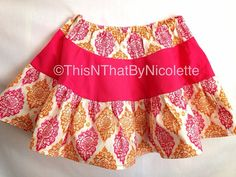 Pink and orange damask twirl skirt by ThisNThatByNicolette on Etsy,