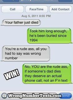 16 Funny Wrong Number Texts and Their Epic Responses. is Hilarious. - Funny Text - - 16 Funny Wrong Number Texts Yeah I agree. The post 16 Funny Wrong Number Texts and Their Epic Responses. is Hilarious. appeared first on Gag Dad.