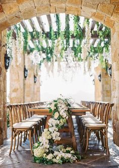 Vineyard garden wedding table decor: http://www.stylemepretty.com/2016/12/08/pantone-2017-color-of-the-year-greenery-wedding/ Photography: Sally Pinera - http://sallypinera.com/