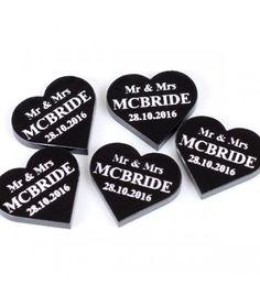"X15 Acrylic Black Hearts ""wedding favours"""
