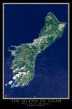 Island of Guam Satellite Poster Map