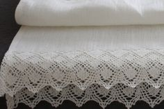 Linen Table Runner  pure linen with  french lace   by mooshop, $29.00