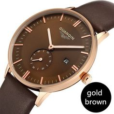 Fashion Men Watch GUANQIN Casual Watches Men Top Brand Luxury Waterproof Leather Men Wristwatches Quartz Watch reloj hombre
