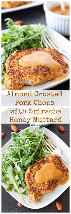 Sriracha Almond Crusted Pork Chops with Spicy Honey Mustard Sauce - Use Cauliflower instead