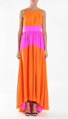 Tibi pink & orange maxi dress