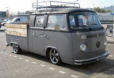 VW double cab Volkswagen Transporter T2, Volkswagen Golf Mk2, Kombi Clipper, Combi Ww, Vw Pickup, General Motors, Vw Classic, Van Car, Busse