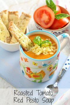 A delicious and comforting vegan Roasted Tomato Soup, super easy to make and served with Cheddar Cheese Soldiers   My Fussy Eater blog