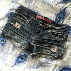 """Distressed Denim Shorts with Pink Rhinestones Great condition, worn once, very cute shorts, cutoff style!  All orders ship same or next day NO Trades/Paypal/Mercari Bundles are always discounted """"Offer"""" button offers welcome and encouraged!  Any questions, just ask me! HAPPY POSHING ❤ Celebrity Pink Shorts Jean Shorts"""