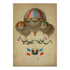 Vintage Poster, French Hot Air Balloons, Old Paris