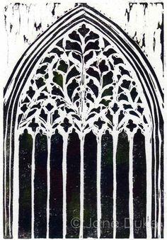 York Minster Window linocut relief print unframed - linocuts of Stone town doors would be amazing! Set Design Theatre, Religious Art, Letterpress, Art Sketches, Art Boards, Printmaking, Graphic Art, Slab Ceramics, British Architecture