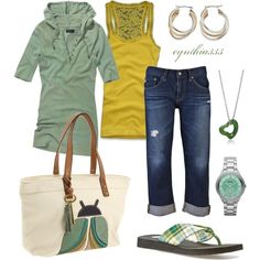 I love this one too.  Layers, colors and jeans.  Jewelry is simple.  I wouldnt expect to put sea foam green and a lime-ish green together but I really like that unexpected color combo