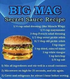 Big Mac secret sauce recipe.