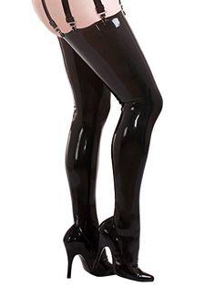 Halterlose Latex-Strümpfe mit Nähten Schwarz Größe: M